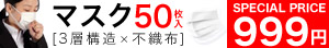 不織布マスク1箱50網入り999円